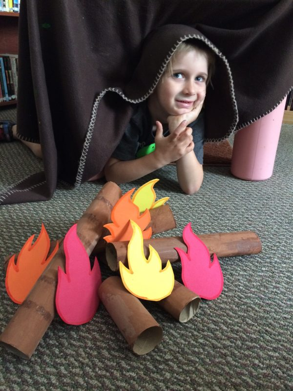 Indoor pretend campfire